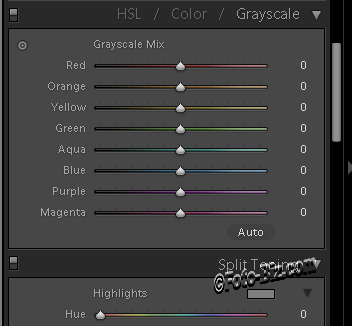 Lightroom: grayscale mix