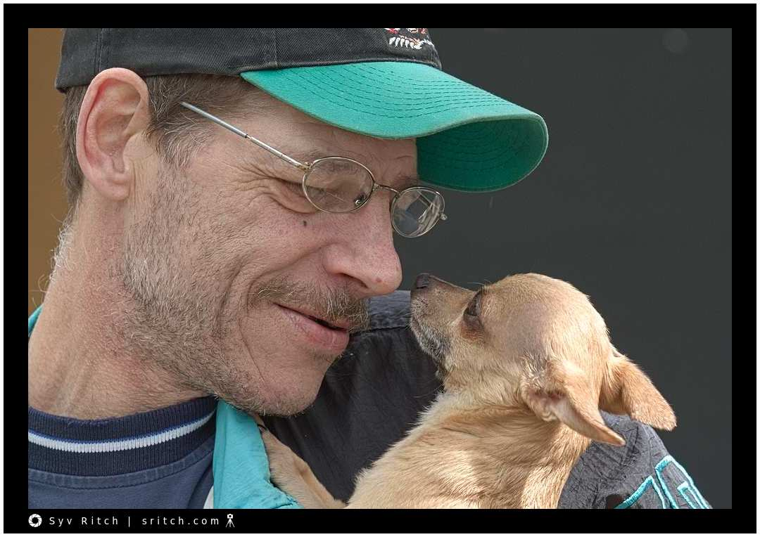 Manuel, the Chihuahua, and Chris. Vancouver, Downtown Eastside, BC