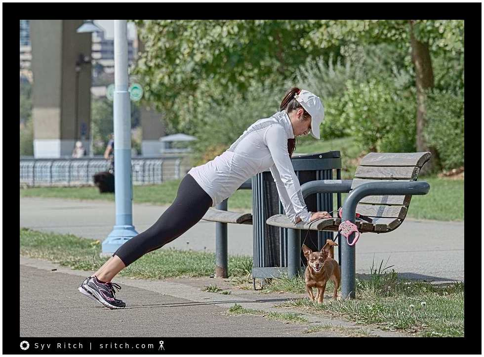 lady with Chihuahua doing bench presses