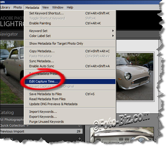 Lightroom: Change/Edit the Time of Capture of a Photo