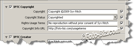 Lightroom Copyright Fields