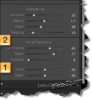 Lightroom: noise reduction color and luminance